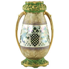 Riessner & Kessel Amphora Turn Teplitz Two-Handled Vase with Iridized Glaze