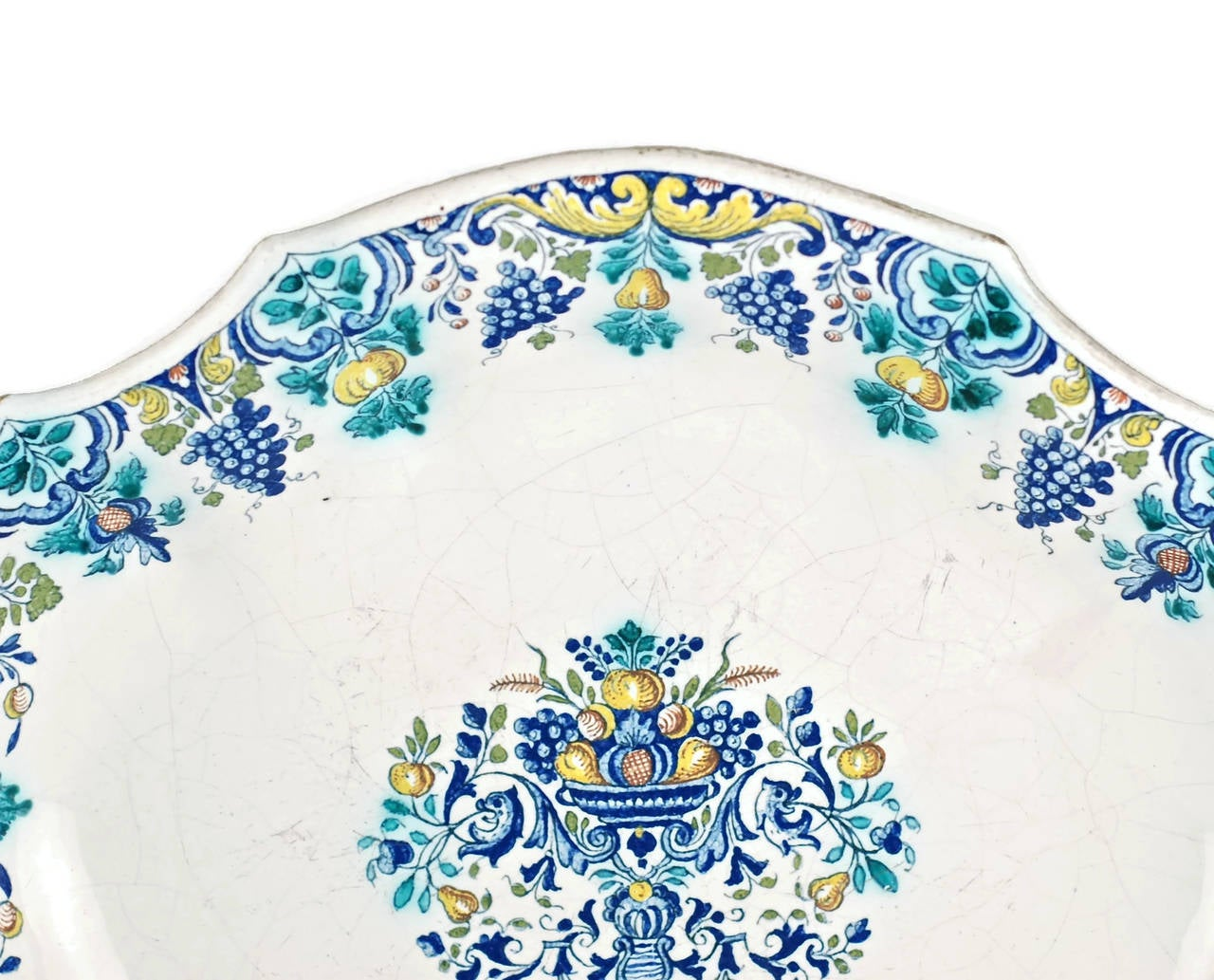 Rococo 18th Century Polychrome Faience Lobed Platter For Sale