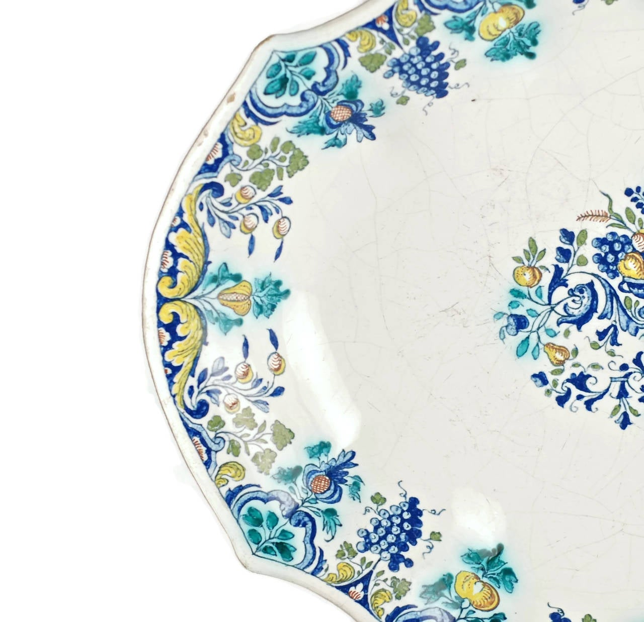 French 18th Century Polychrome Faience Lobed Platter For Sale