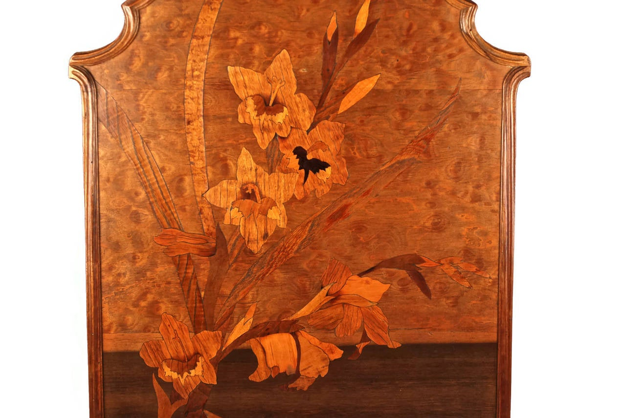 Emile Gall 233 Art Nouveau Marquetry Fire Screen Panel With