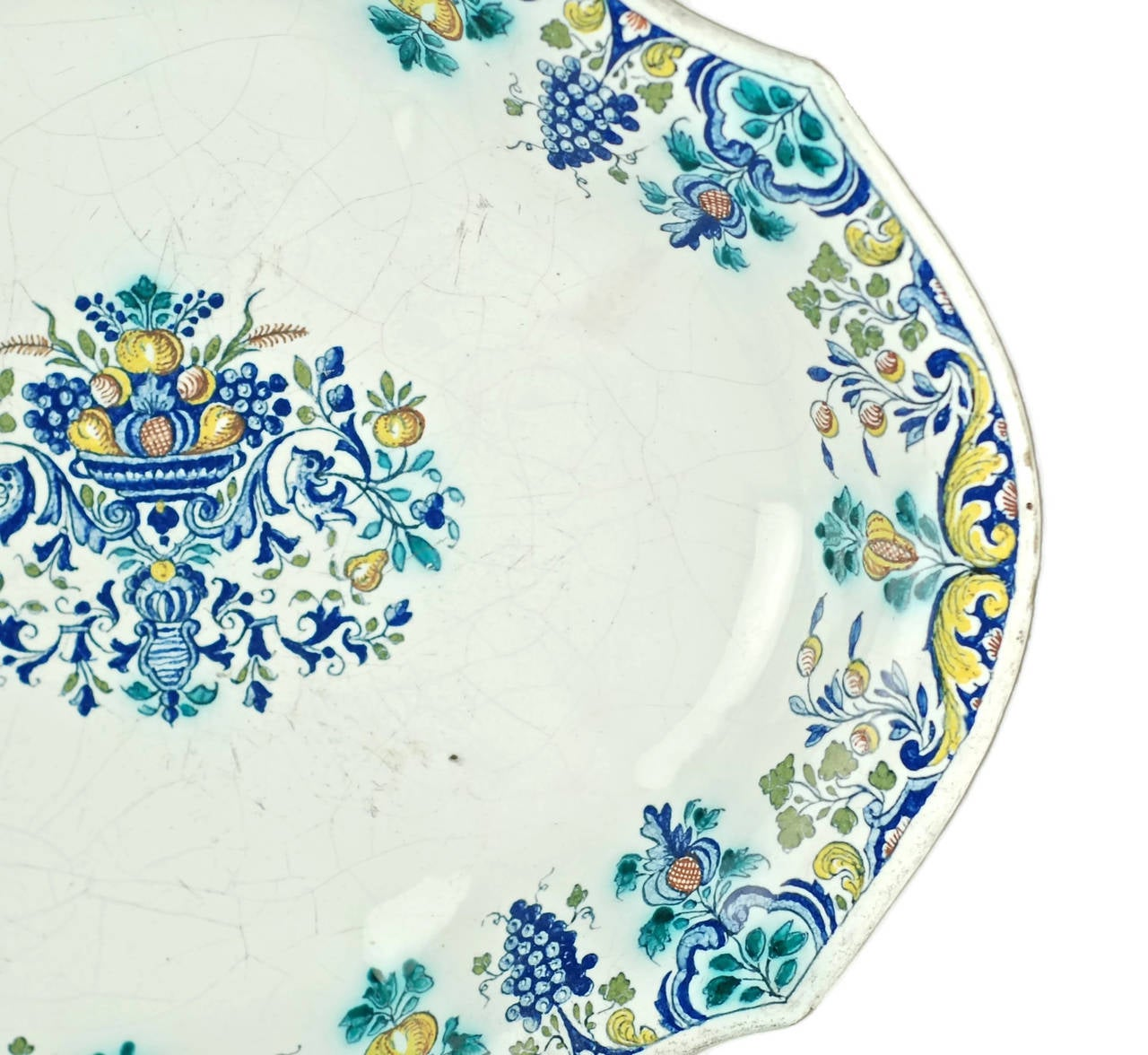 Glazed 18th Century Polychrome Faience Lobed Platter For Sale