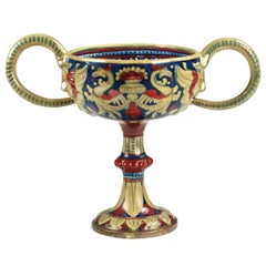 Rubboli Lustre Majolica Double-Handled Compote with Mask Head Detail