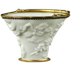 Kangxi Period Blanc de Chine Porcelain Libation Cup with Ormolu Mounts