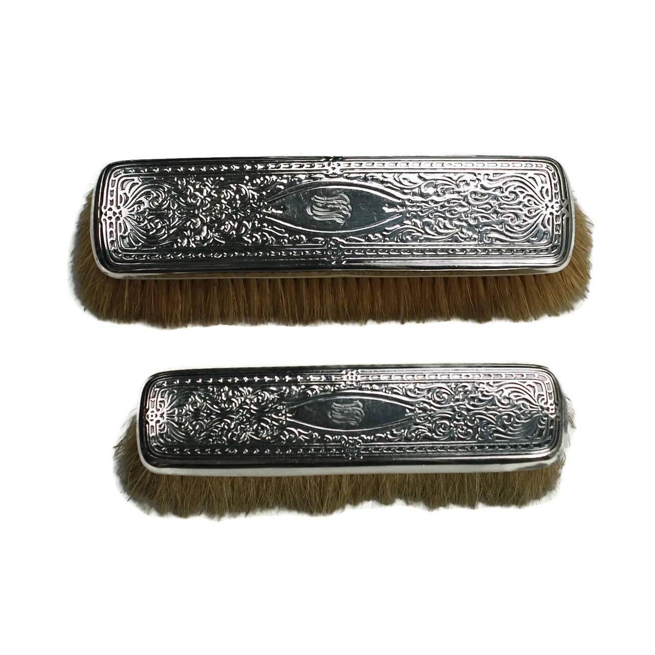 Edwardian Tiffany & Co. Sterling Silver 13-Piece Vanity Set For Sale 3