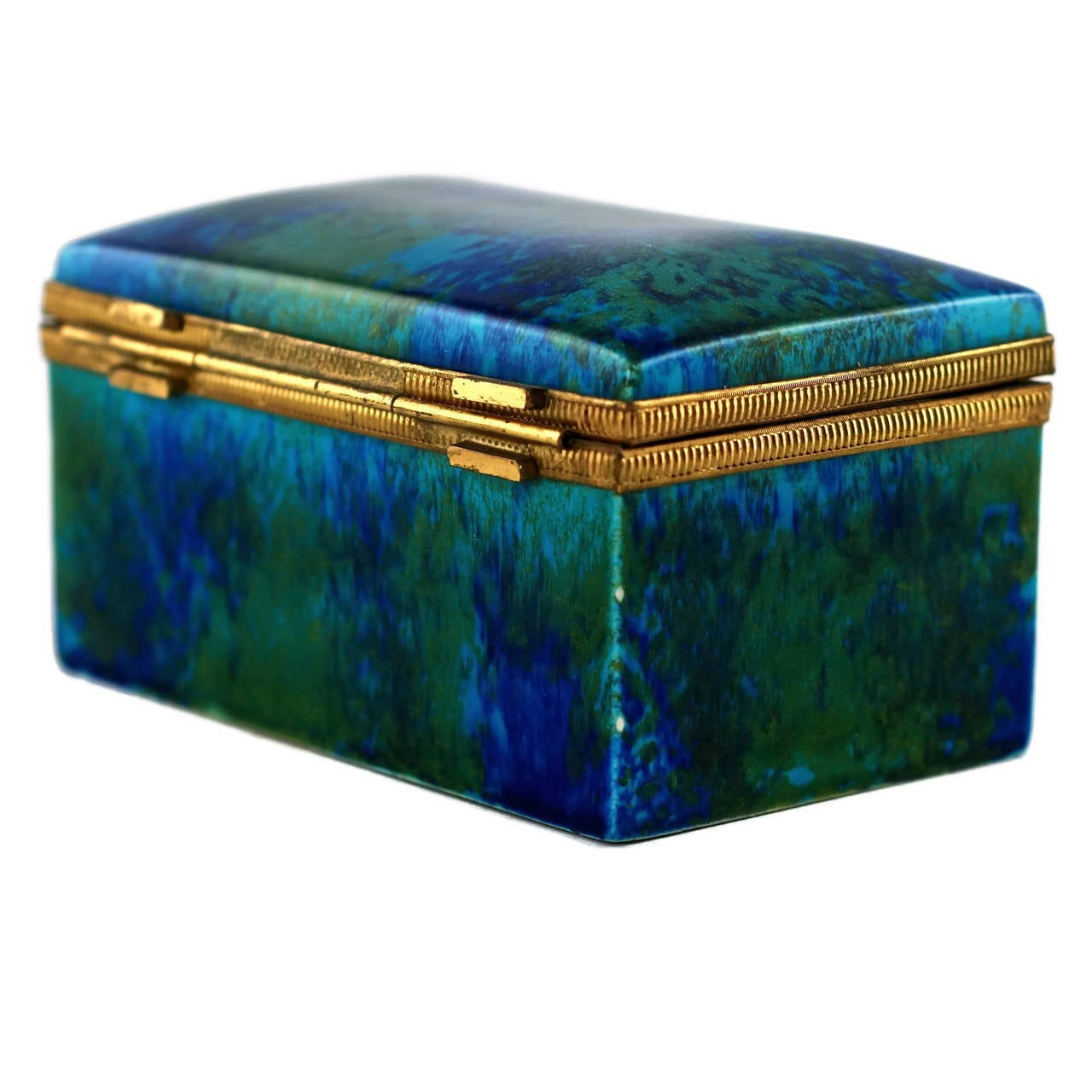 20th Century Paul Milet Sèvres Porcelain Hinged Dresser Box with Ormolu Mounts For Sale