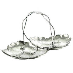 Reed and Barton Sterling Silver Two-Part Lily Pad Dish with Intertwined Handle