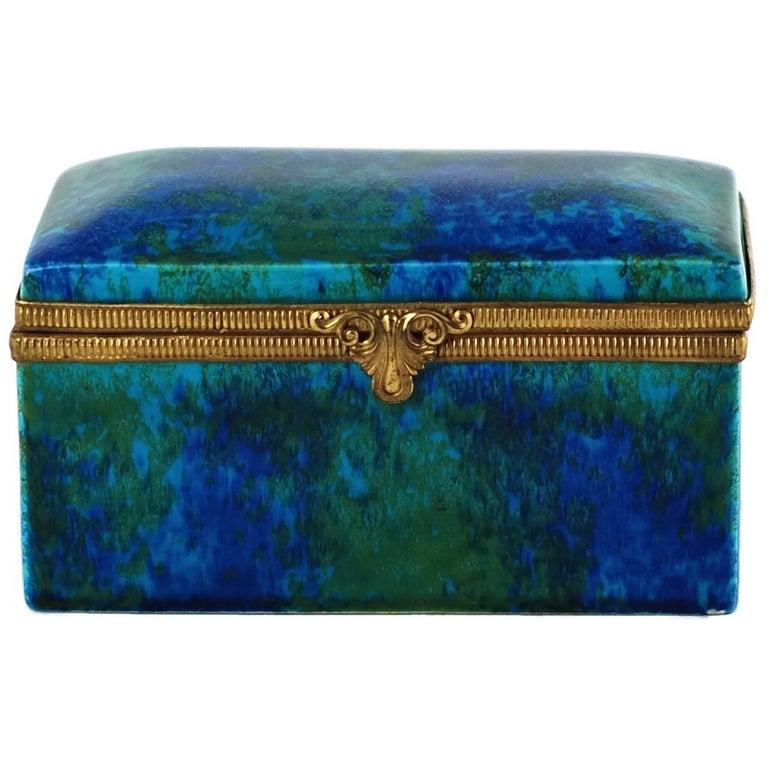 Paul Milet Sèvres Porcelain Hinged Dresser Box with Ormolu Mounts For Sale