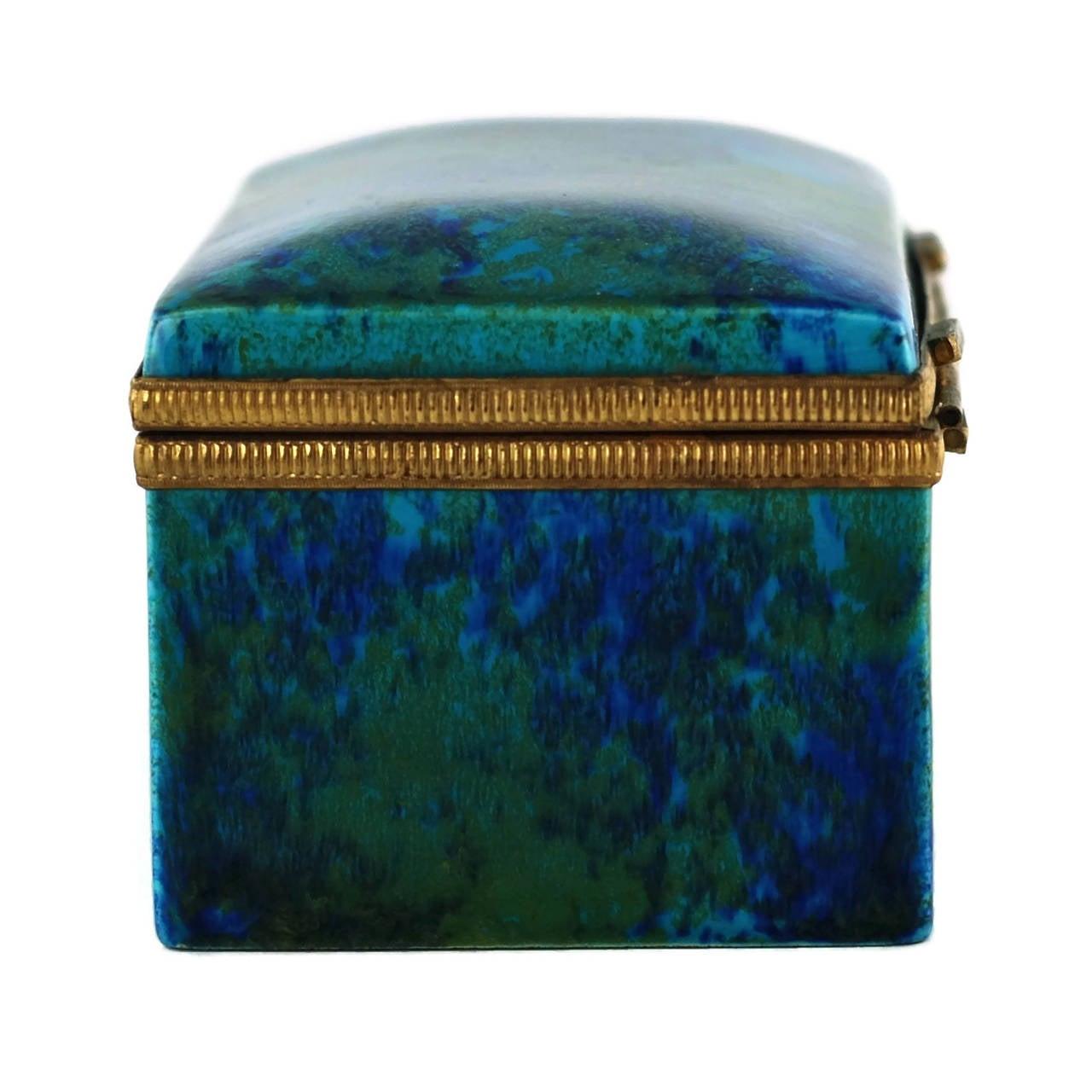 Paul Milet Sèvres Porcelain Hinged Dresser Box with Ormolu Mounts For Sale 1