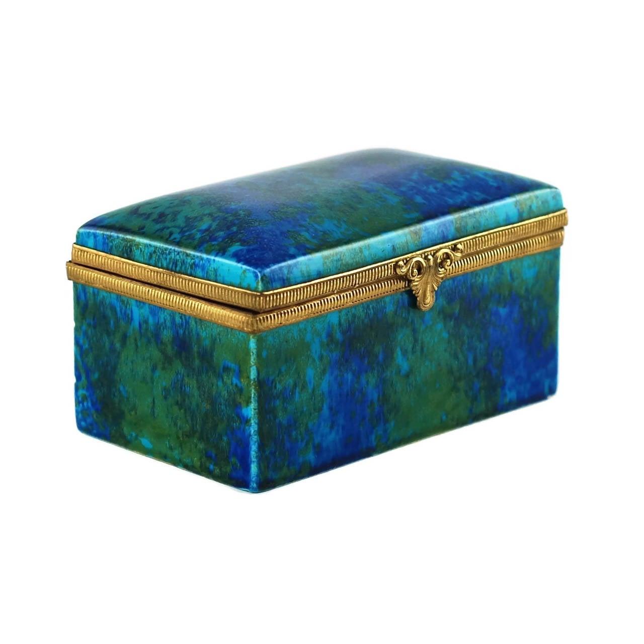 Art Deco Paul Milet Sèvres Porcelain Hinged Dresser Box with Ormolu Mounts For Sale