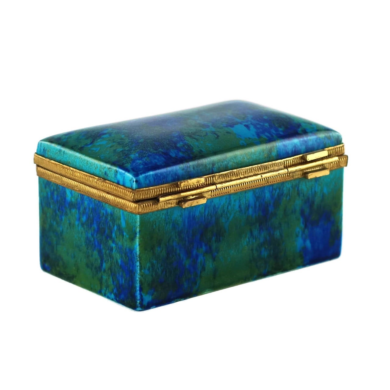 Glazed Paul Milet Sèvres Porcelain Hinged Dresser Box with Ormolu Mounts For Sale