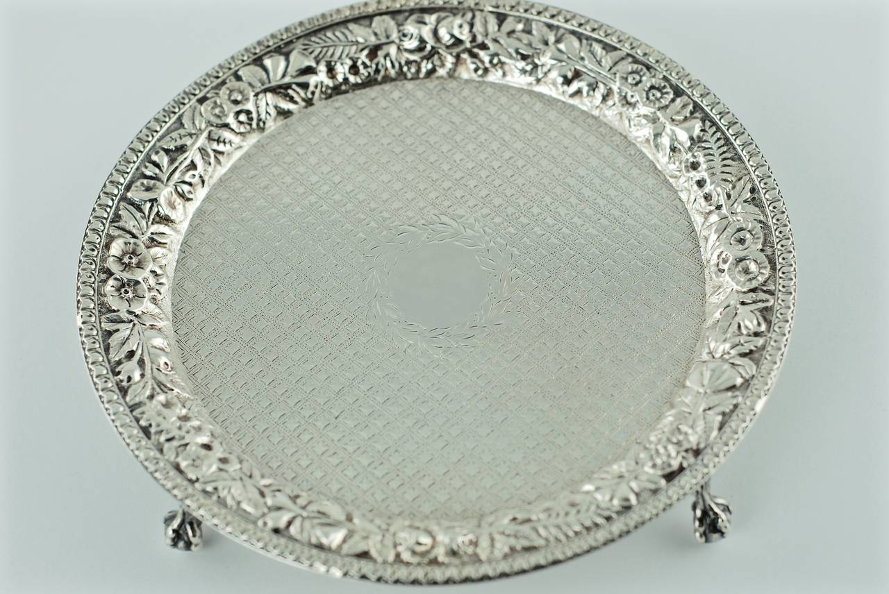 American 19th Century S. Kirk & Son Repoussé Sterling Silver Salver For Sale