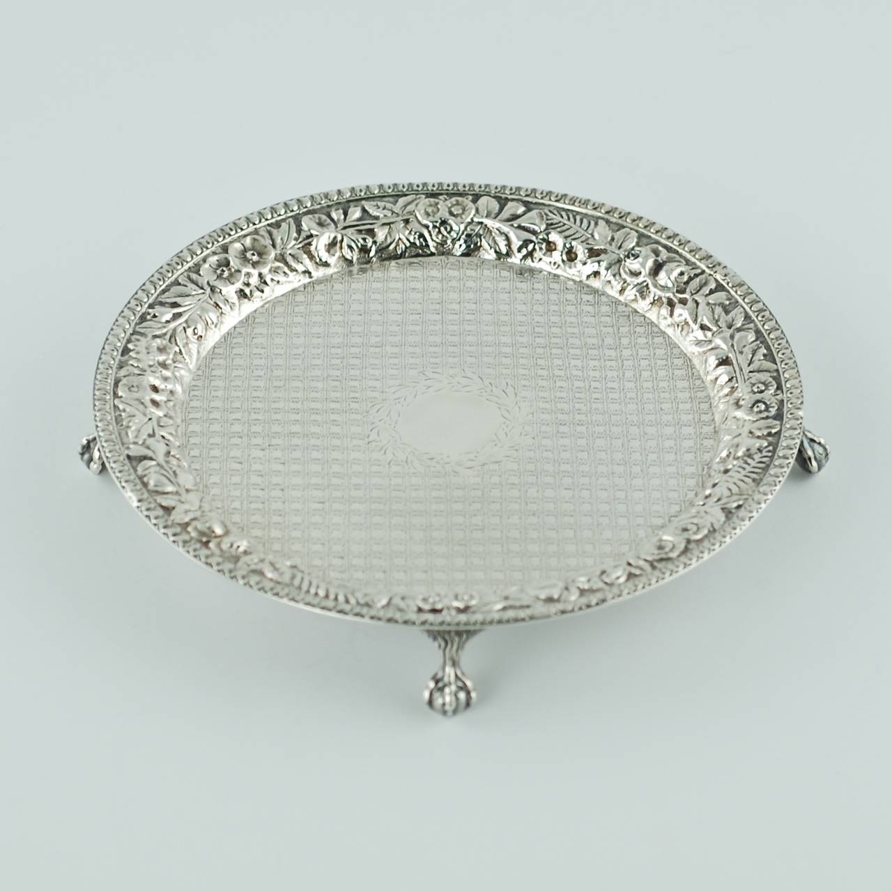 Victorian 19th Century S. Kirk & Son Repoussé Sterling Silver Salver For Sale