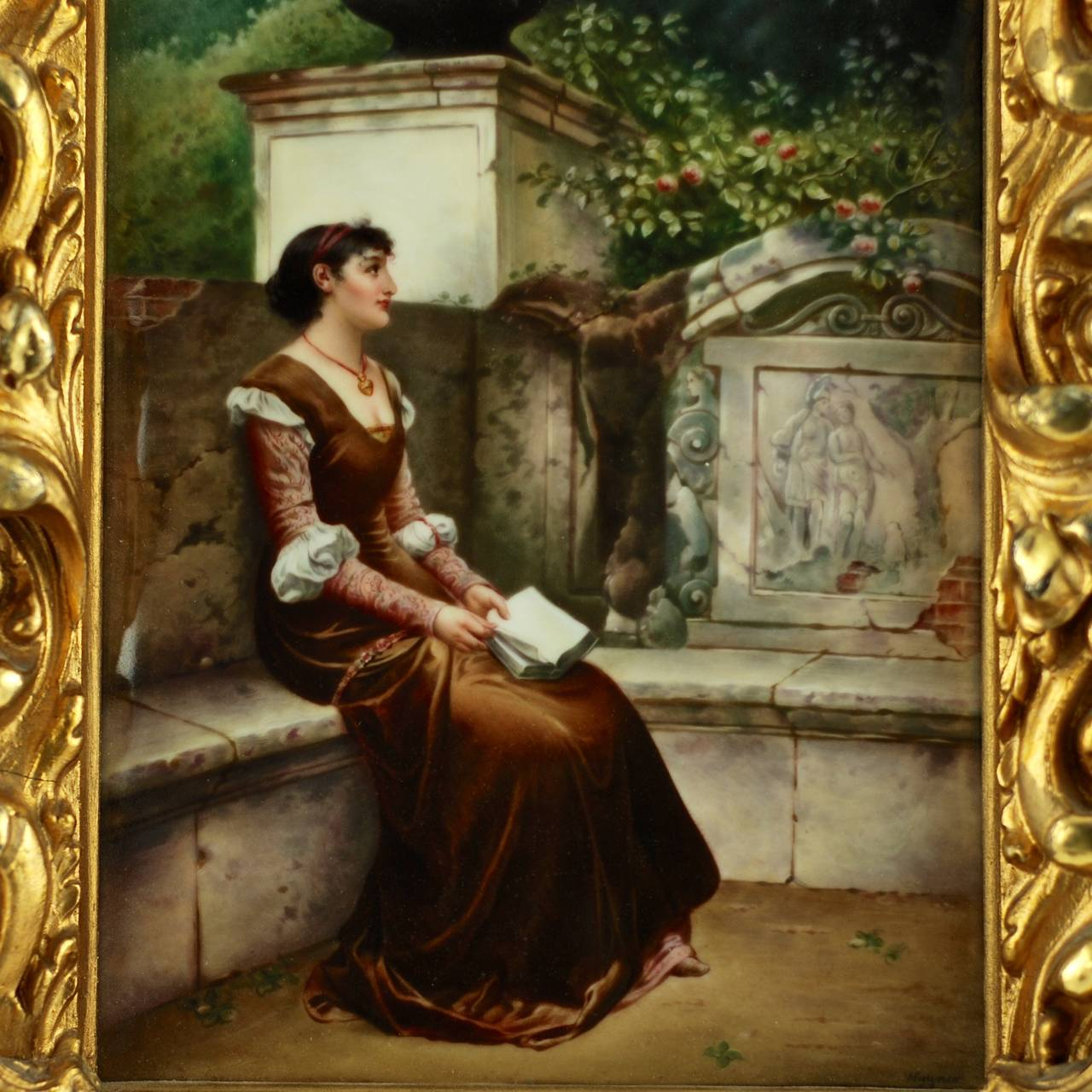 This 19th century artwork was executed in enamel on porcelain by noted KPM artist Wagner. The piece is titled 'Erinnerungen', translated as 'Memories'.  The painting has a wistful romantic theme and depicts a dark haired young woman in reverie.