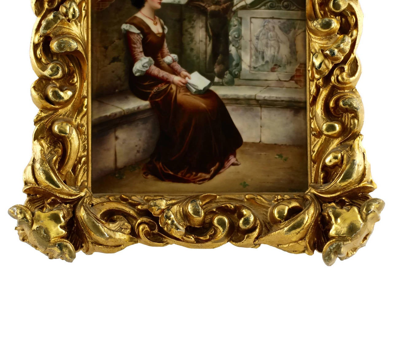German 19th Century KPM Plaque Signed by Wagner in Giltwood Frame, 'Erinnerungen' For Sale
