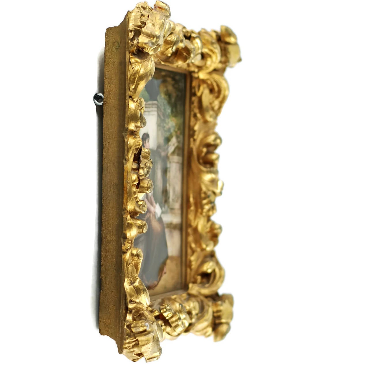 1870s 19th Century KPM Plaque Signed by Wagner in Giltwood Frame, 'Erinnerungen' For Sale