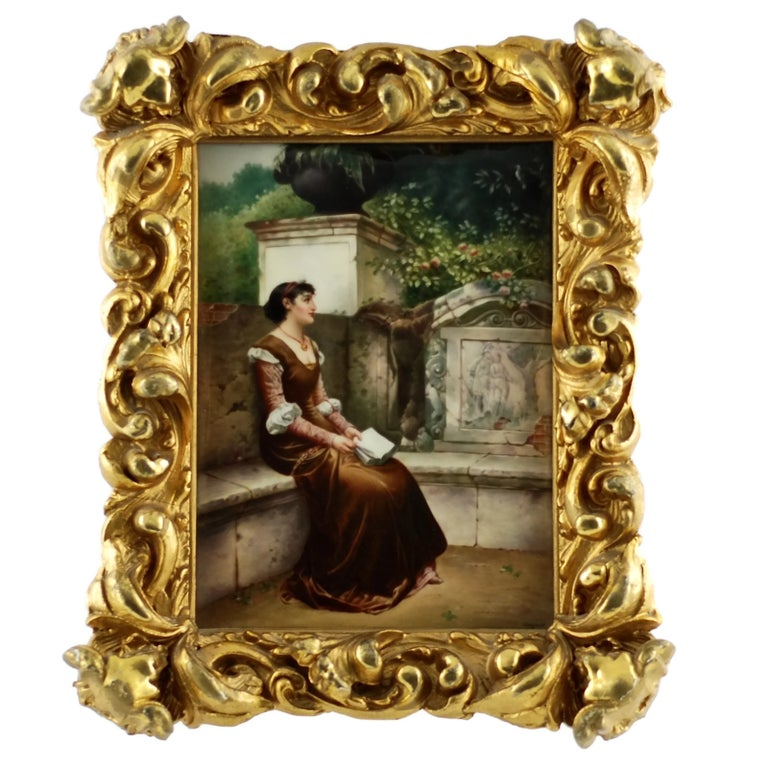 19th Century KPM Plaque Signed by Wagner in Giltwood Frame, 'Erinnerungen' For Sale