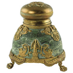 19th Century French Marble Inkwell with Bronze Doré Mounts