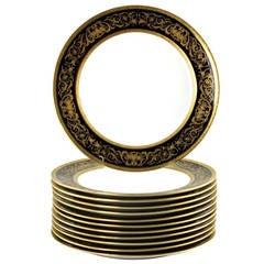 Charles Ahrenfeldt Limoges Gilt Encrusted Cobalt Rim Dinner Plates, Set of 12