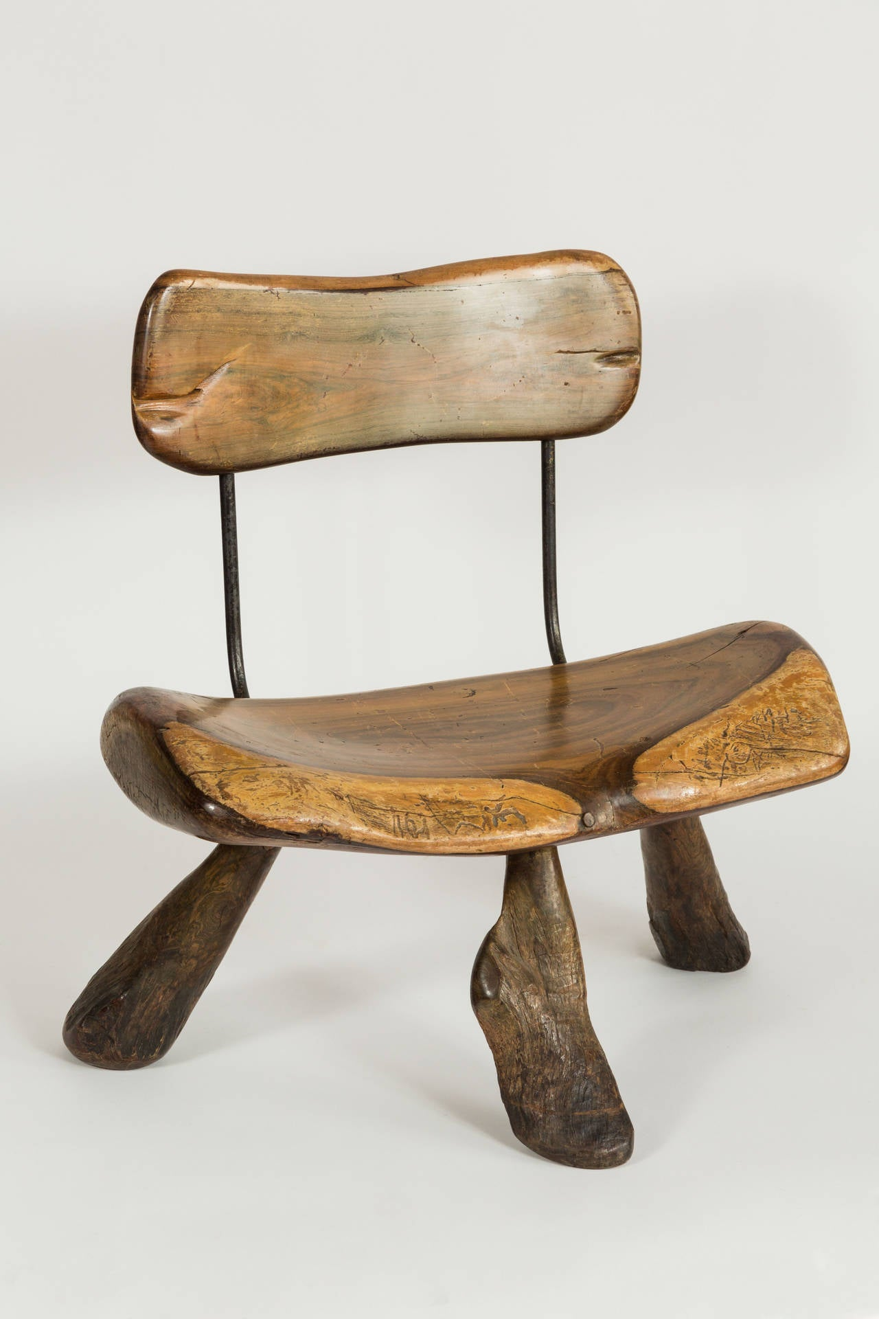 Handmade wood and iron chairs For Sale at 1stdibs