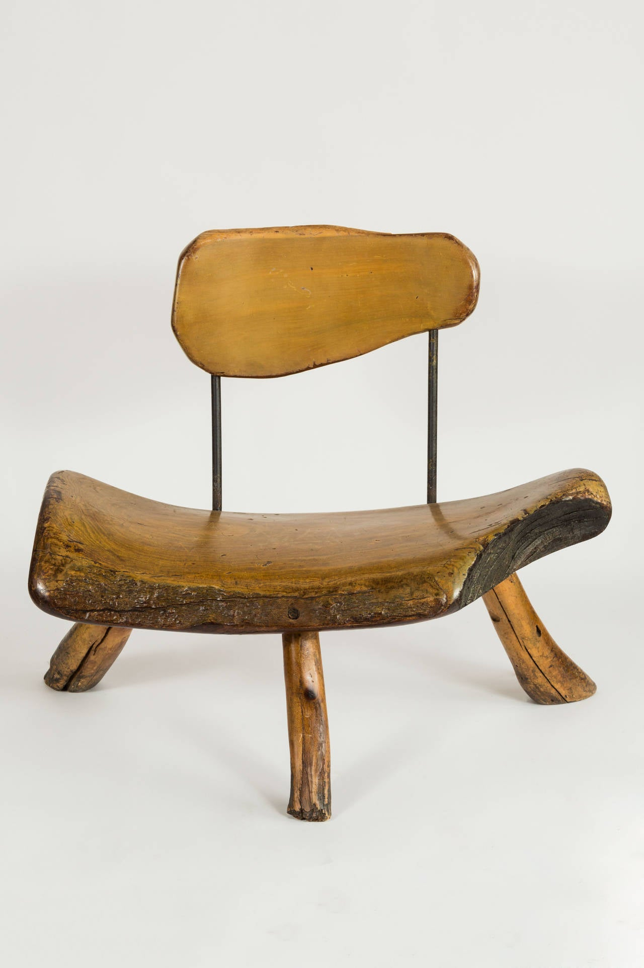 Mid-20th Century Handmade wood and iron chairs For Sale