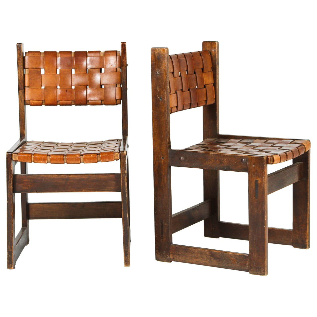 Pair of Belgian Woven Leather Chairs For Sale
