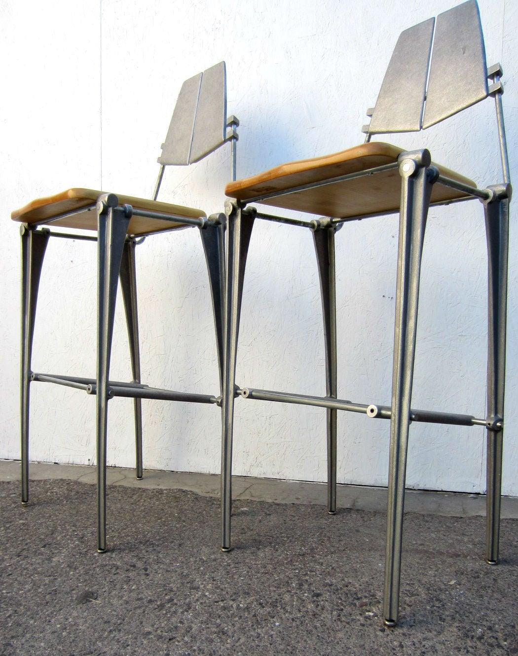 Rare Robert Josten Sculpted Aluminum Bar Stools Pair At