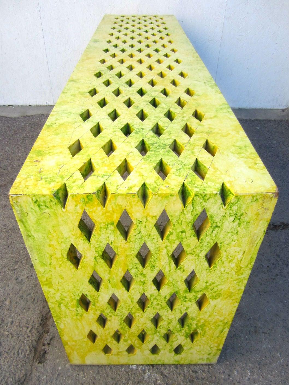 Designer Phyllis Morris Lattace Cut Yellow Green Oil Drop