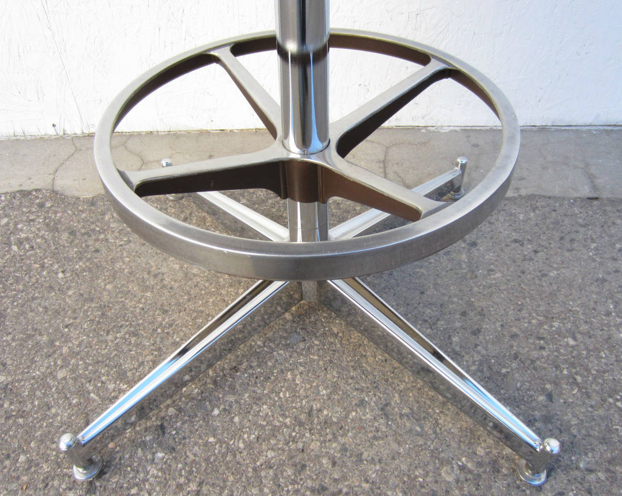 Trio Of Hollywood Regency Chrome And Yellow Bar Arm Stools