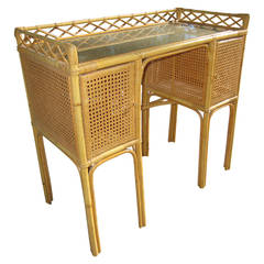 1950s French Rattan, Cane and Bamboo Letter Desk by Jean Royere