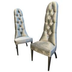 "Hollywood Designer Phyllis Morris ""Imperial Lipstick"" Chairs in Platinum Velvet"
