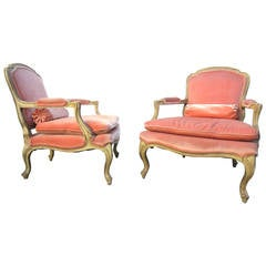 Phyllis Morris Designed Louis XV Bergere Chairs in Pink Velvet