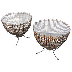 Mid-Century Modern Franco Albini Rattan, Iron and Glass Side Tables