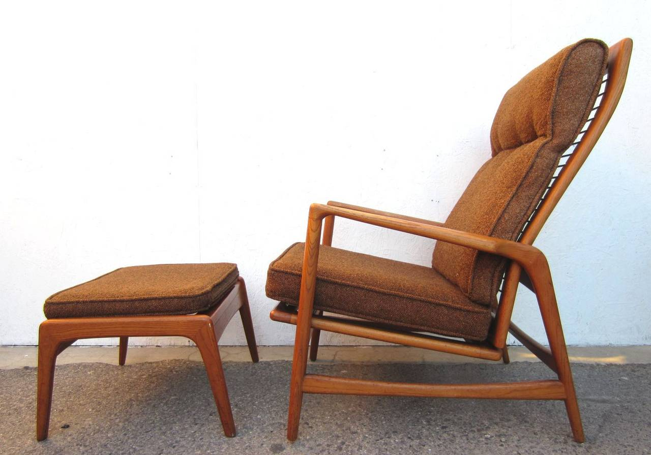 Sculptural Ib Kofod Larsen Design Lounge Chair And Ottoman. Early 1950s  Piece With Original. 1950 Danish Mid Century Modern ...