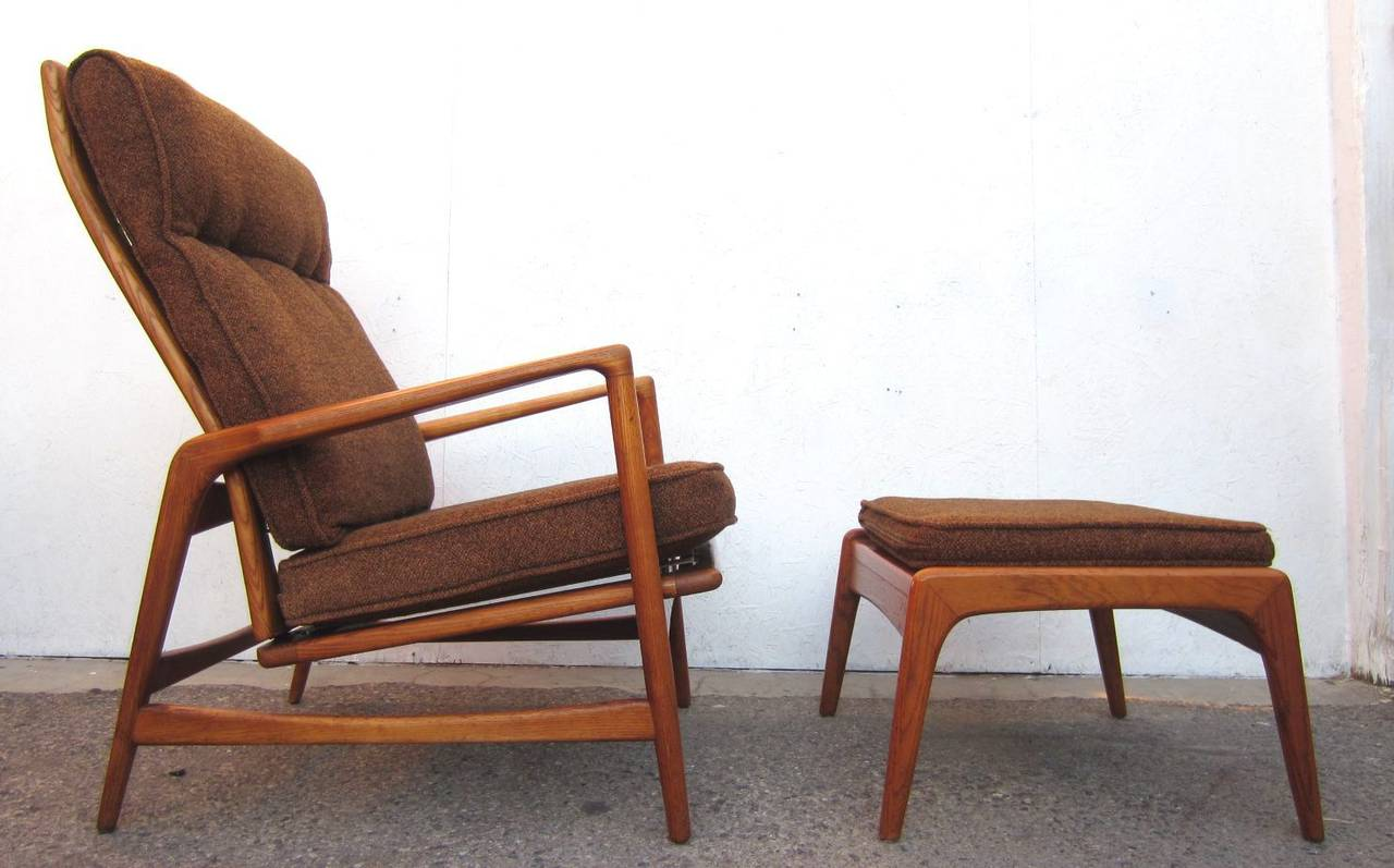 1950 Danish Mid Century Modern Lounge Chair And Ottoman Ib Kofod Ln In