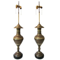 1940s Moorish Tooled Brass Urn Lamps