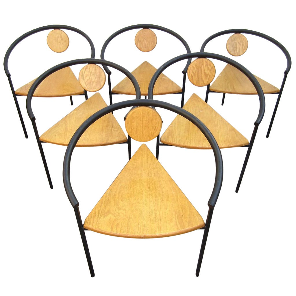 Six Memphis Post Modern Dining or Arm Chairs In the Style of