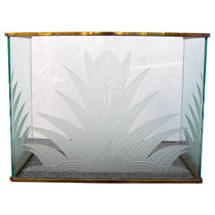 Hollywood Regency Brass and Etched Glass Fireplace Screen after Fontana Arte