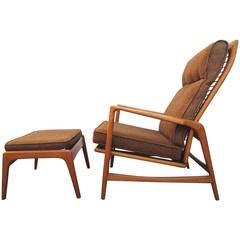 1950 Danish Mid-Century Modern Lounge Chair and Ottoman, Ib Kofod-Larsen