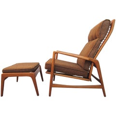 1950 Danish Mid-Century Modern Lounge Chair and Ottoman, Ib Kofod-Larsen