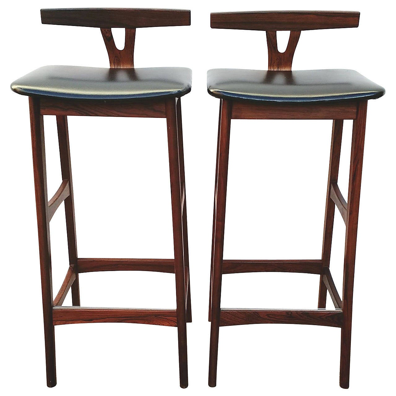 Pair Of Mid Century Danish Modern Rosewood Bar Stools By