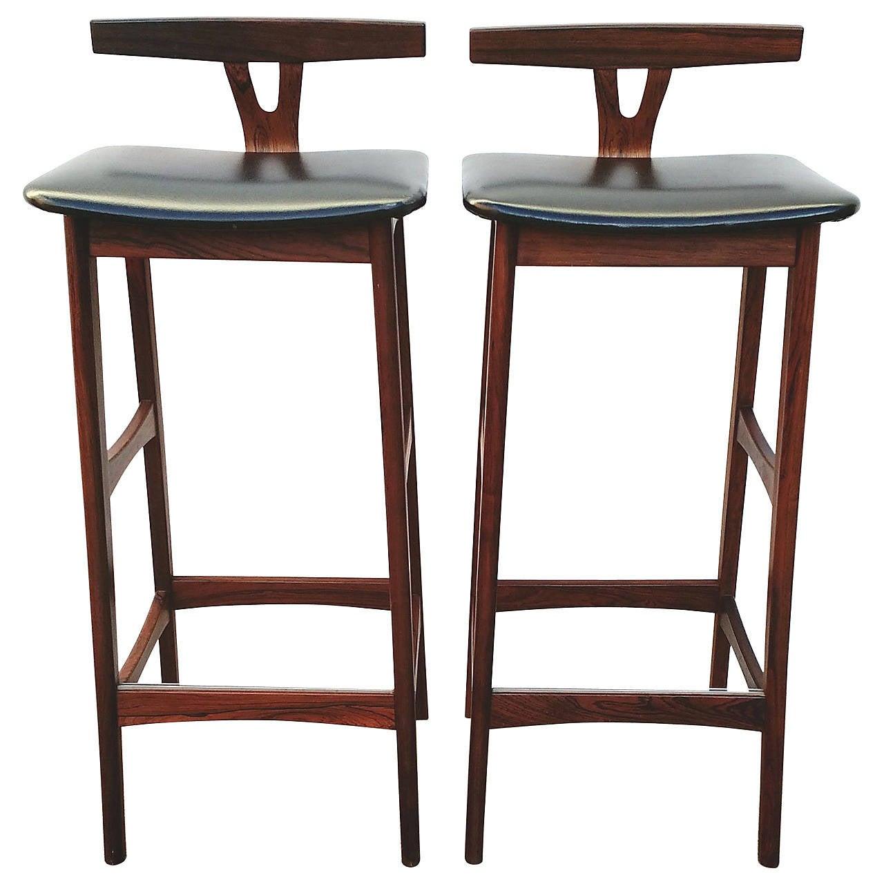 Pair of mid century danish modern rosewood bar stools by dyrlund denmark 1