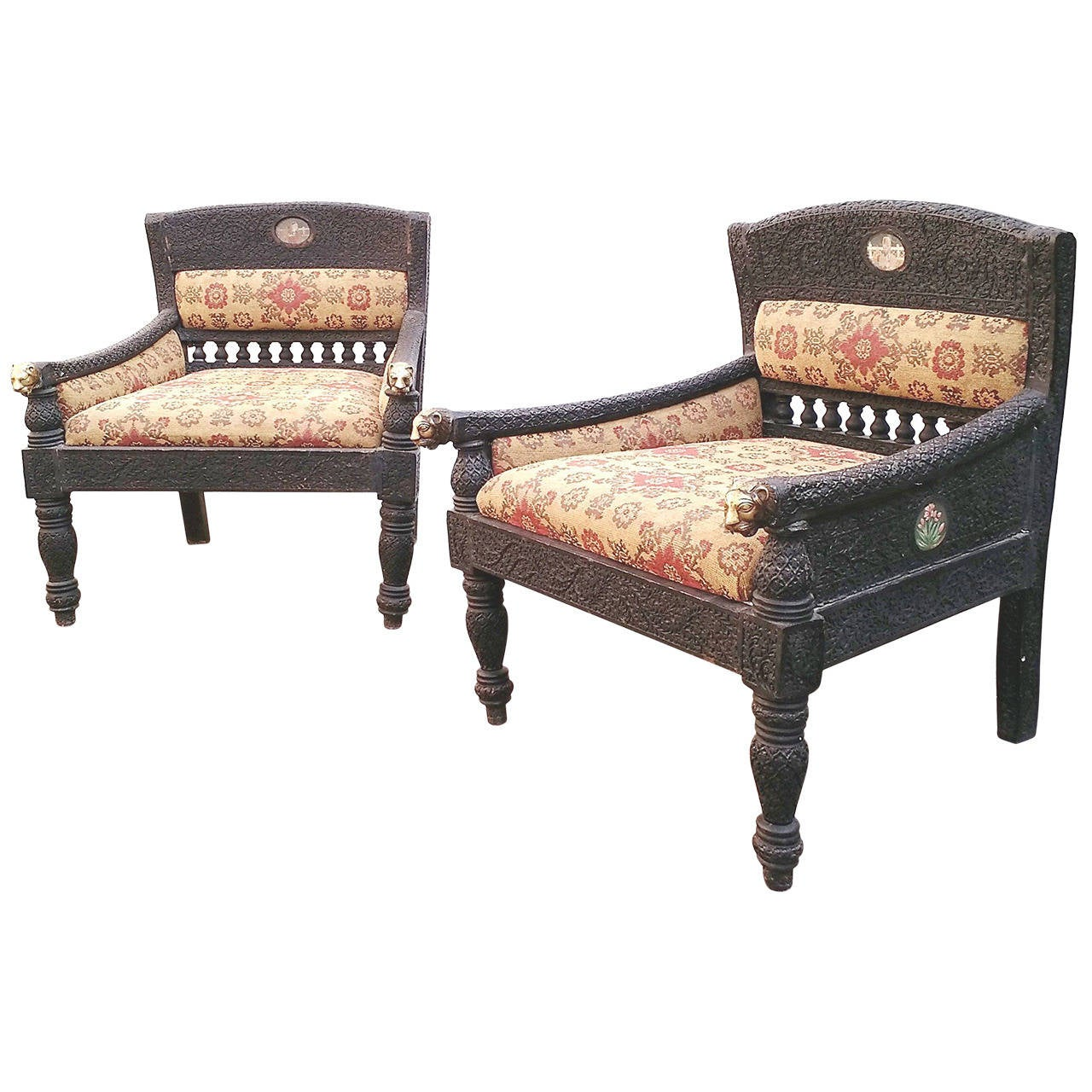 Pair Of Exotic Antique Carved Teak Wood And Brass Indian Wedding Chairs 1