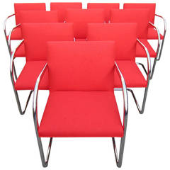 Mid-Century Modern Mies Van Der Rohe, Cantilevered Brno Chairs