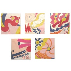 1970s Knox Martin Abstract Expressionist Set of Five Screenprints, Signed