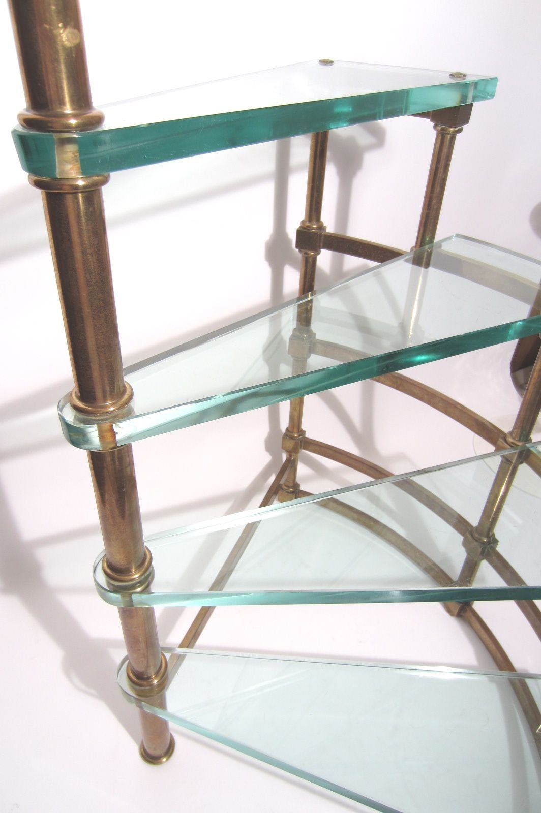 1950s brass and glass library step ladder table attributed for Ladder coffee table