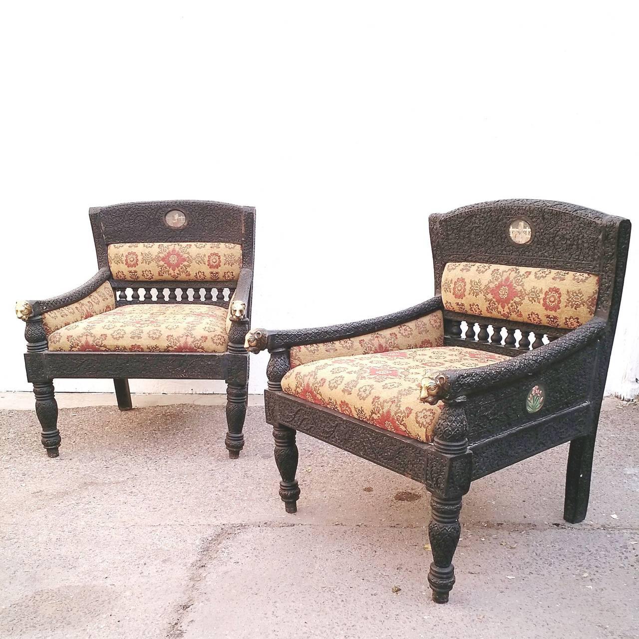 Brass Pair Of Antique Bohemian Chairs Hand Carved Teak For