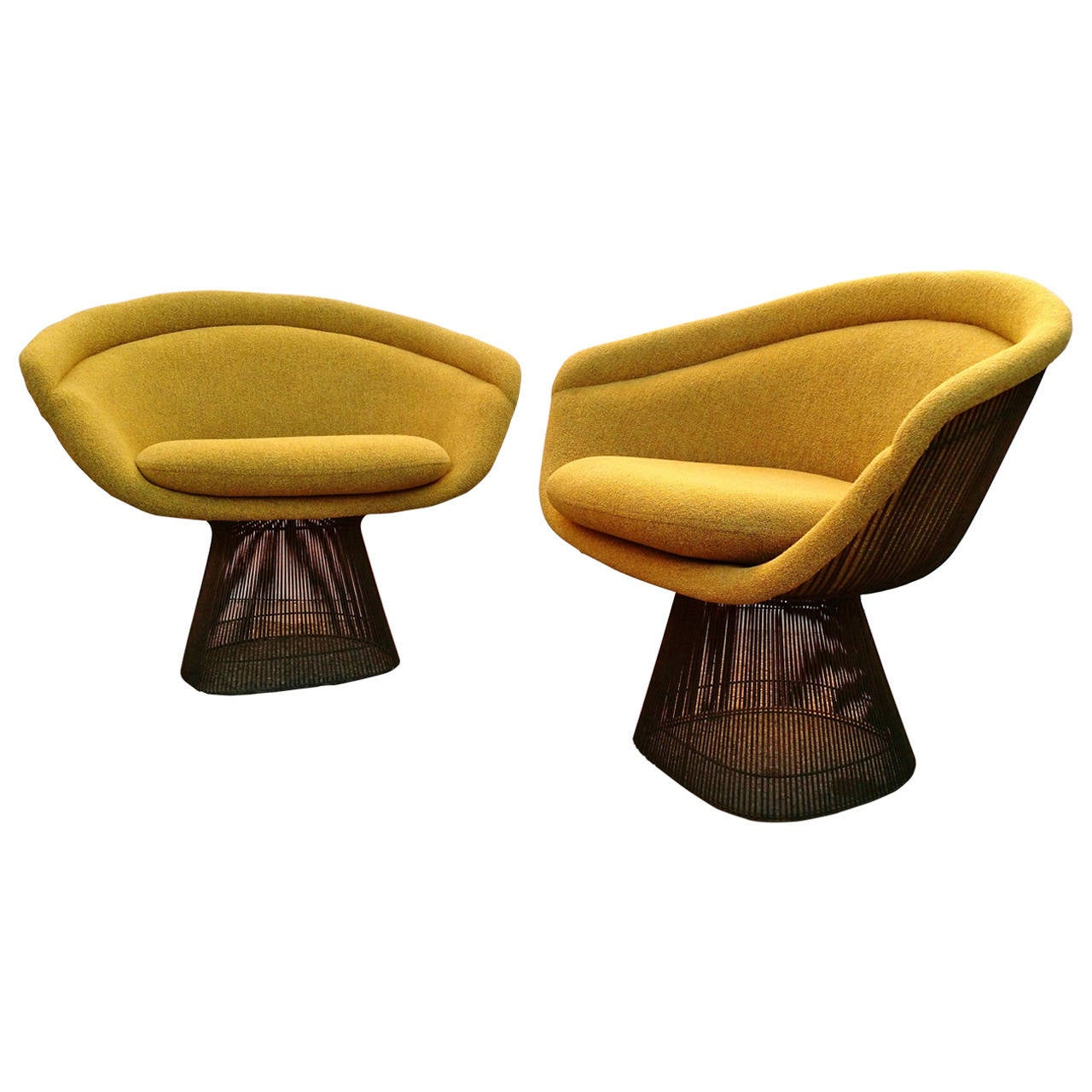 mid century modern knoll warren platner lounge chairs with bronze wire