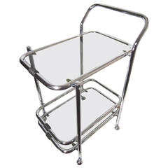 Italian Tubular Chrome and Smoked Glass Bar Service Trolley Cart, 1970s