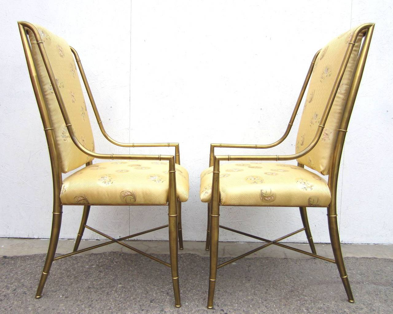 Hollywood Regency Mastercraft Furniture Brass Faux Bamboo Dining Chairs Set  Of Six, 1970s For Sale