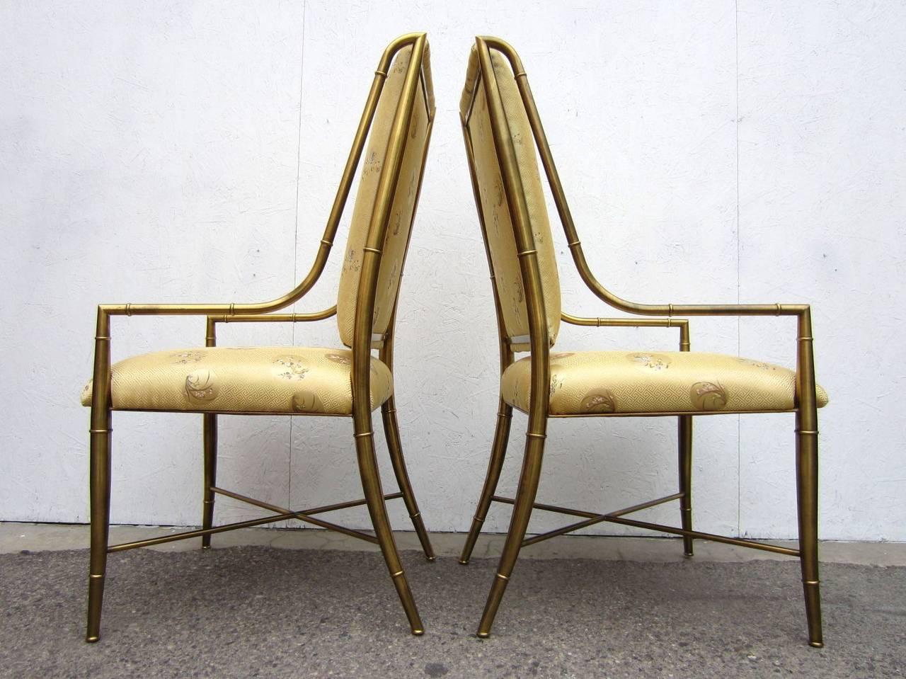 Mastercraft Furniture Brass Faux Bamboo Dining Chairs Set